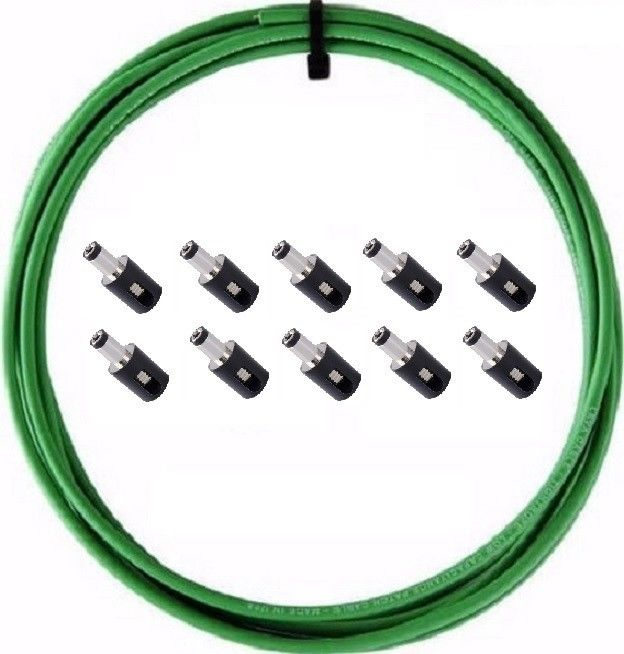 LAVA Cable GREEN Tightrope DC POWER Solderless Kit 10ft Cable and 10 DC Plugs