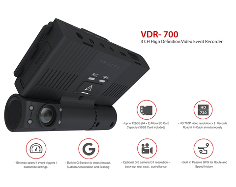 VENTRA VDR-700 3CH Capable 720P HD Vehicle DVR w/GPS & Built in G-Sensor (32GB)