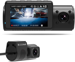 Vantrue N4 Dash Cam 3 Channel 1440P Front & 1080P Inside & 1080P Rear Dash Cam