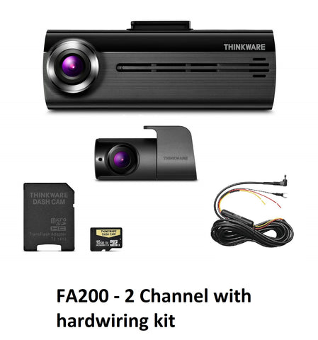 THINKWARE FA200 DashCam Bundle w/Front & Rear Cam, WiFi,  HW Power Adptr (16GB)