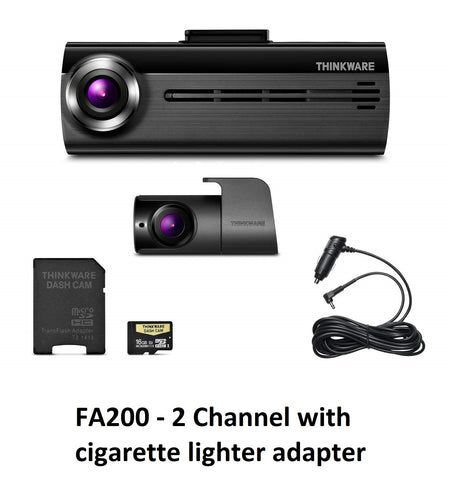 THINKWARE FA200 DashCam Bundle w/Front & Rear Cam, WiFi, CL Power Adptr (16GB)
