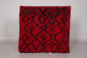 Red berber rug 3.4 ft x 3.3 ft