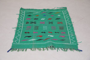 Small kilim 3.1 ft x 4.1 ft, Green berber rug