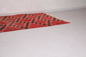 Red Moroccan rug 4.3 FT X 7.3 FT