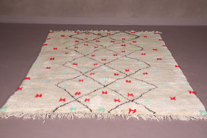 All wool beni ourain Moroccan rug 5.6 FT X 7.8 FT