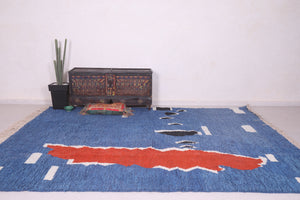 Blue moroccan rug 8.5 FT X 10.3 FT