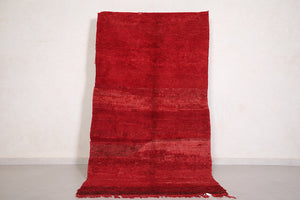 Moroccan rug red 3.9 FT X 7.4 FT