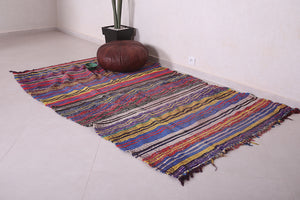 Colorful Moroccan kilim rug 5.2 FT X 8.3 FT