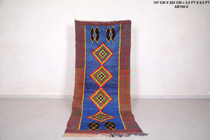 Moroccan rug in Blue, 3.5 ft x 8.5 ft