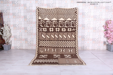 Brown Beni ourain rug, 5.5 ft x 8.9 ft