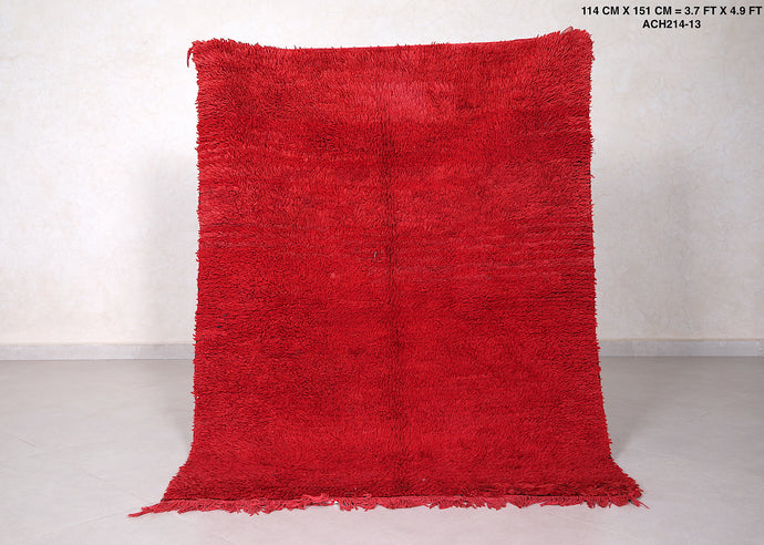 Red moroccan rug, 3.7 ft x 4.9 ft, small beni ourain carpet
