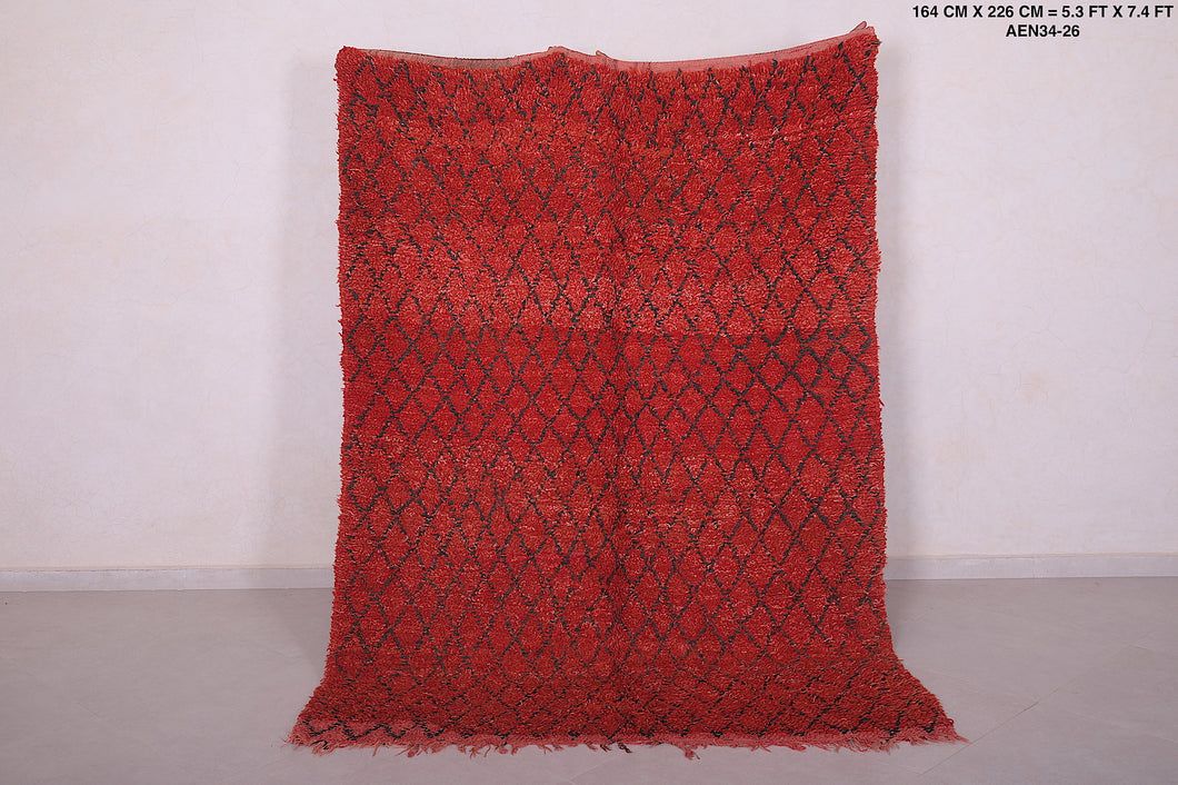 Red moroccan rug, 5.3 FT X 7.4 FT