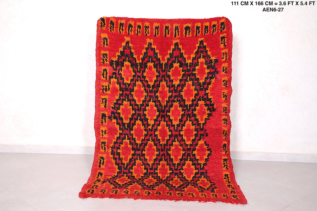 Orange Moroccan rug, 3.6ft x 5.4ft