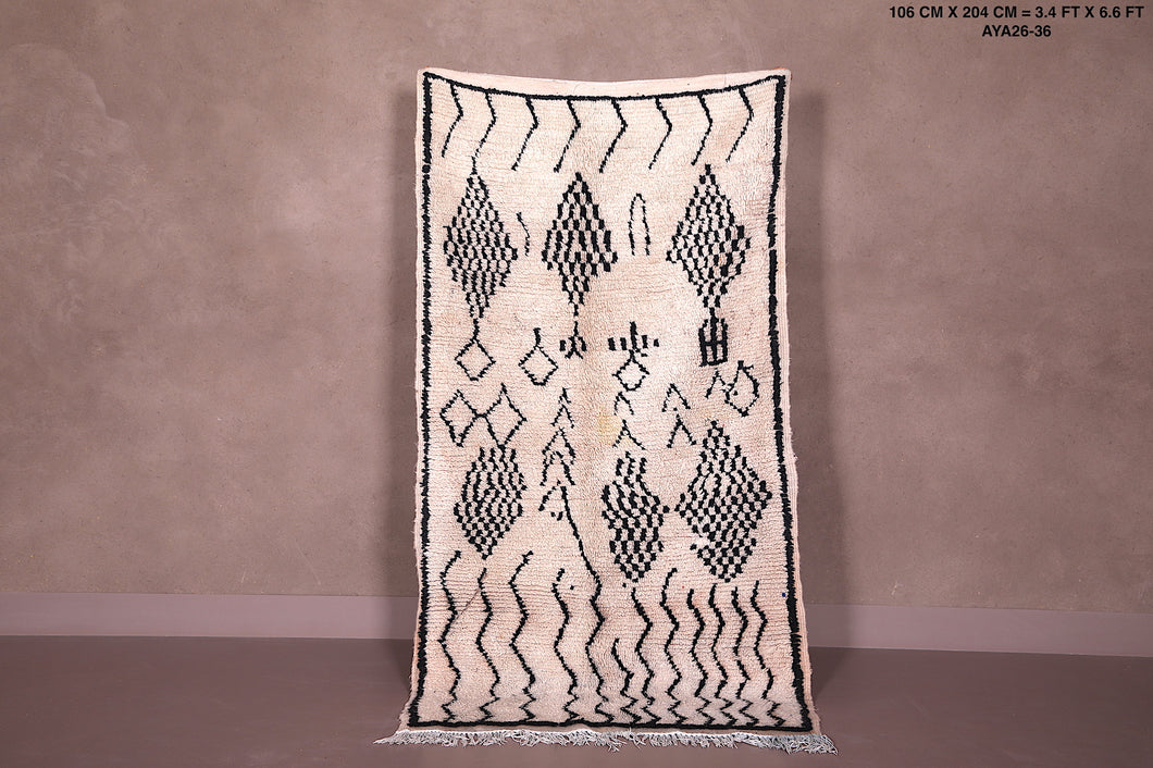 Wool Beni ourain rug, Handknotted rug, 3'4