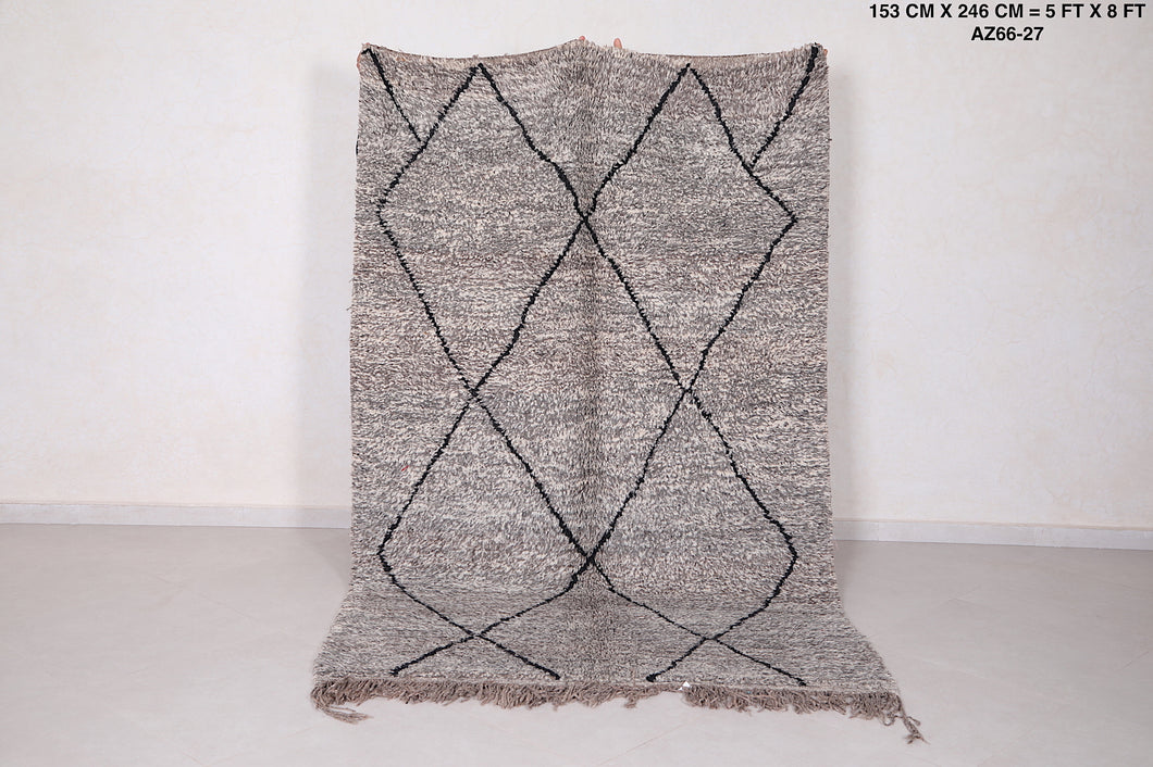Moroccan Gray rug, 5 ft x 8 ft