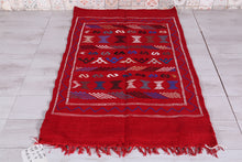 Red kilim rug 3.2 FT X 5 FT
