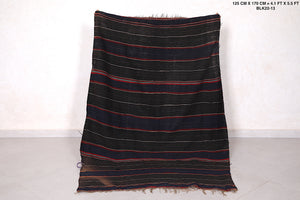 Black moroccan Blanket, 4.1 FT X 5.5 FT,