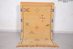 Handwoven Yellow kilim rug, 3 ft x 4.8 ft