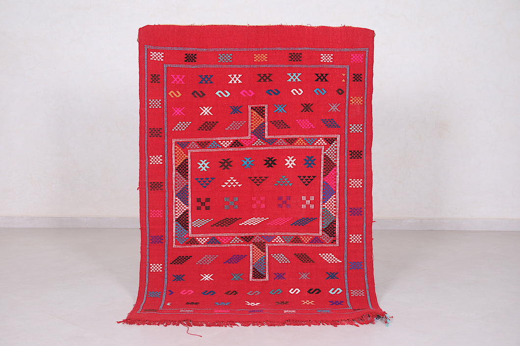Handwoven Red kilim rug, 3.4 ft x 4.8 ft