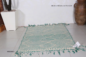Green moroccan kilim rug, 3.1 ft x 4.5 ft