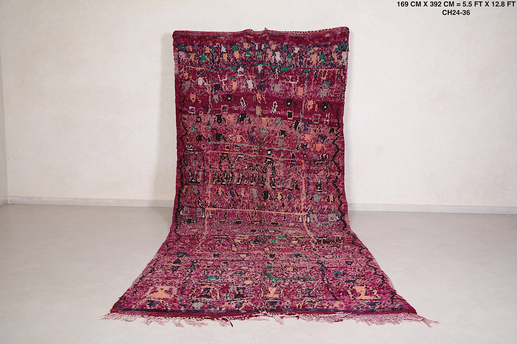 Vintage Moroccan Purple rug, 5.5 FT X 12.8 FT
