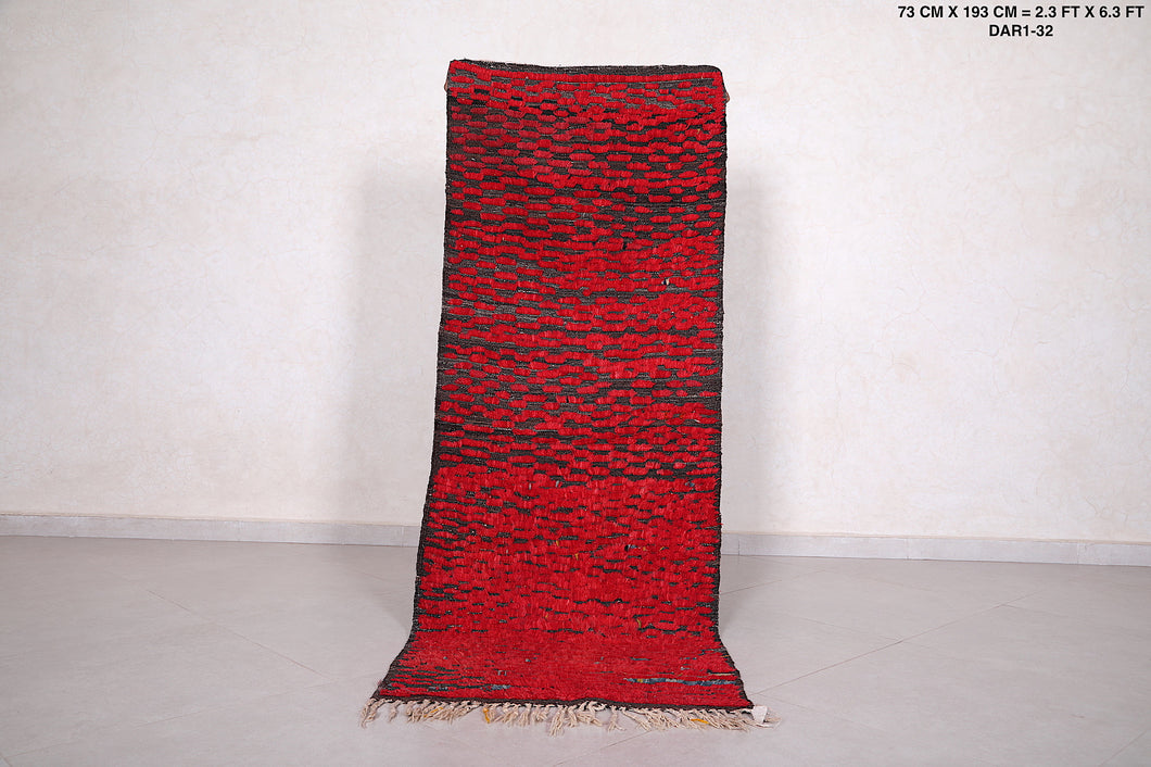 Red Moroccan rug,  2.3 FT X 6.3 FT