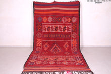 Vintage Moroccan rug in red, 6 FT X 11.7 FT