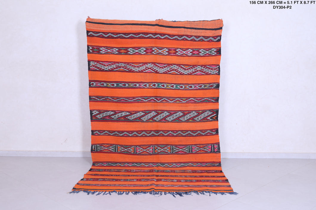 Orange Moroccan berber kilim 5.1 FT X 8.1 FT