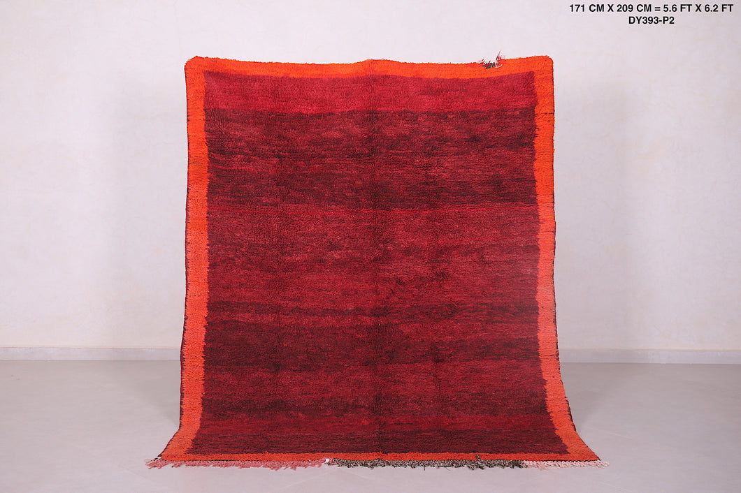 Moroccan rug red, 5.6 FT X 6.2 FT