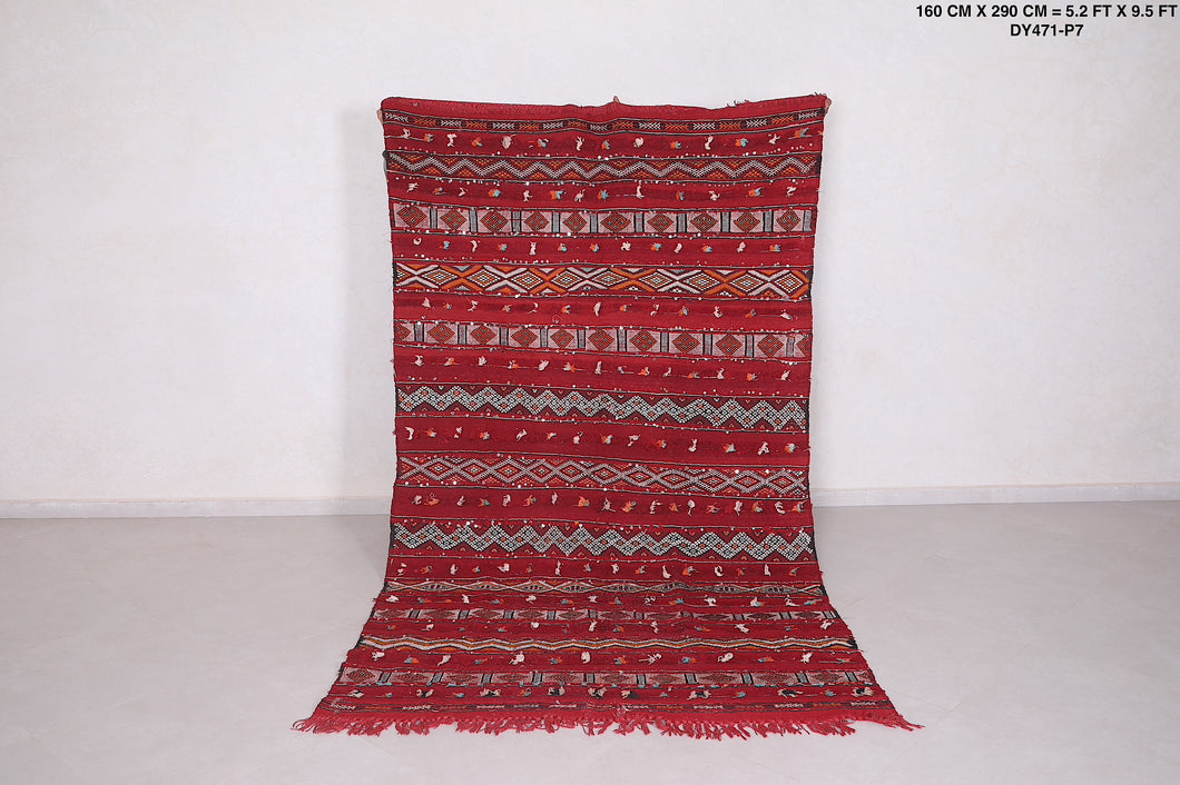 Moroccan red rug kilim , 5.2 FT X 9.5 FT