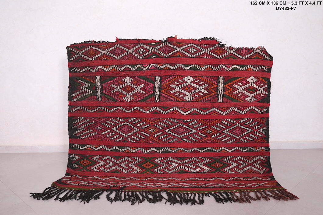 Antique Moroccan Handwoven kilim, 5.3 FT X 4.4 FT