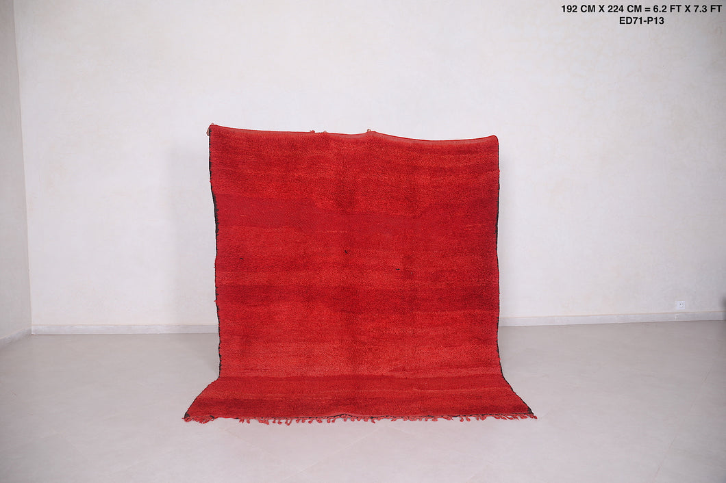 Moroccan rug red 6.2 FT X 7.3 FT