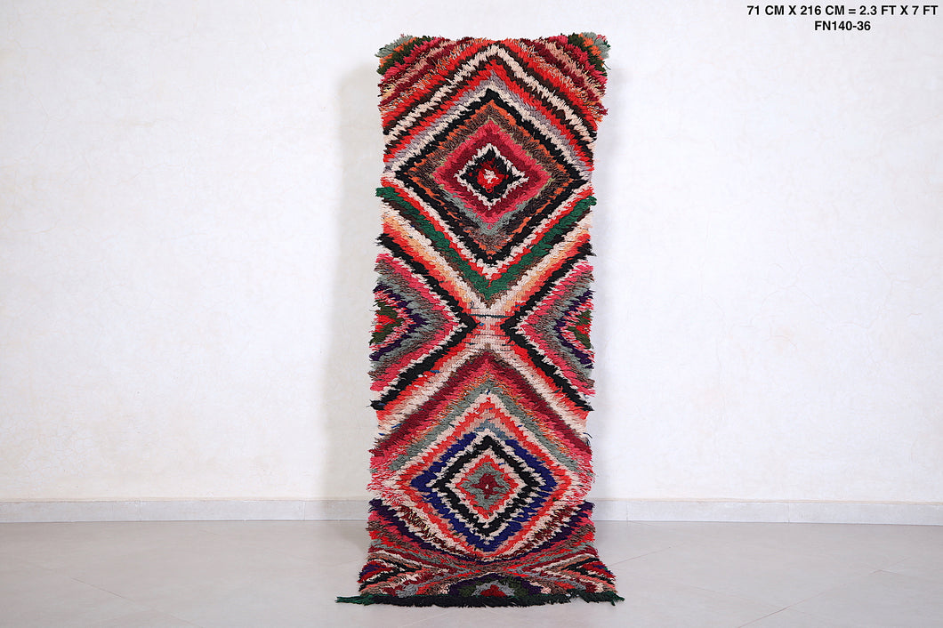 Long Boucherouite rug, 2.3ft x 7ft