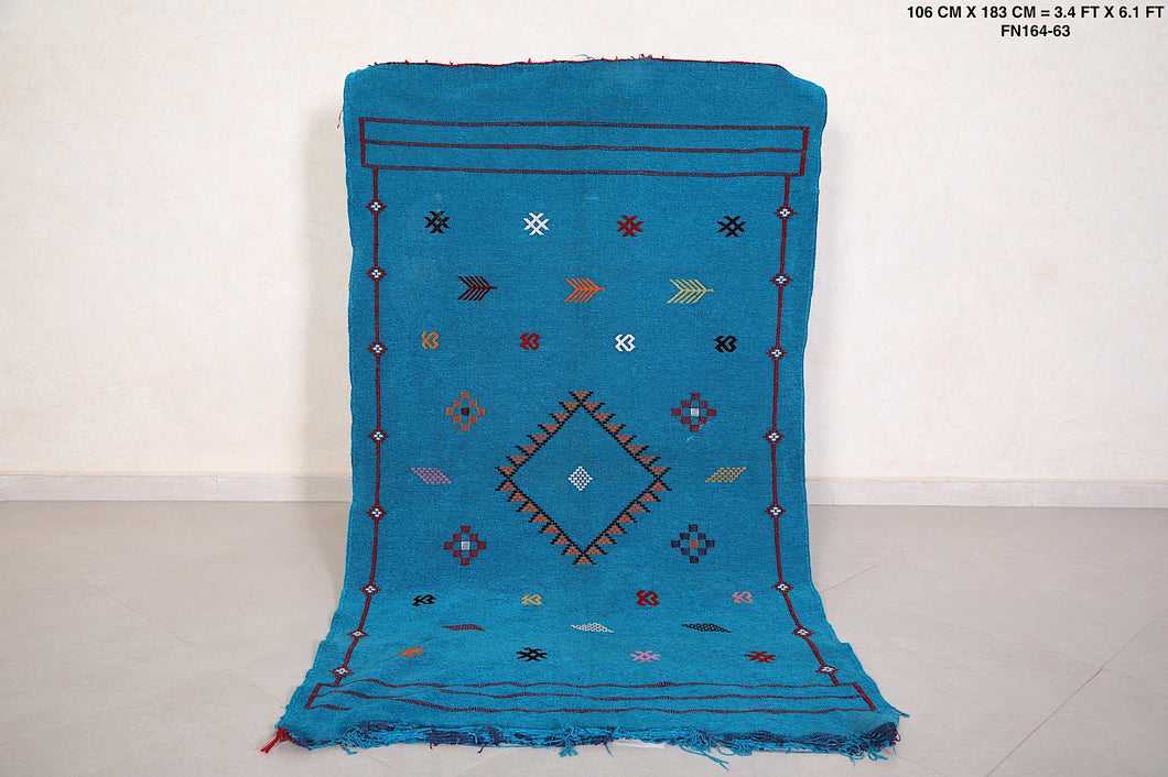 Handwoven Blue kilim, 3.4ft x 6.1ft