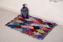 Colorful rug, Boucherouite Morocco rug, 2.2 ft x 3.2 ft