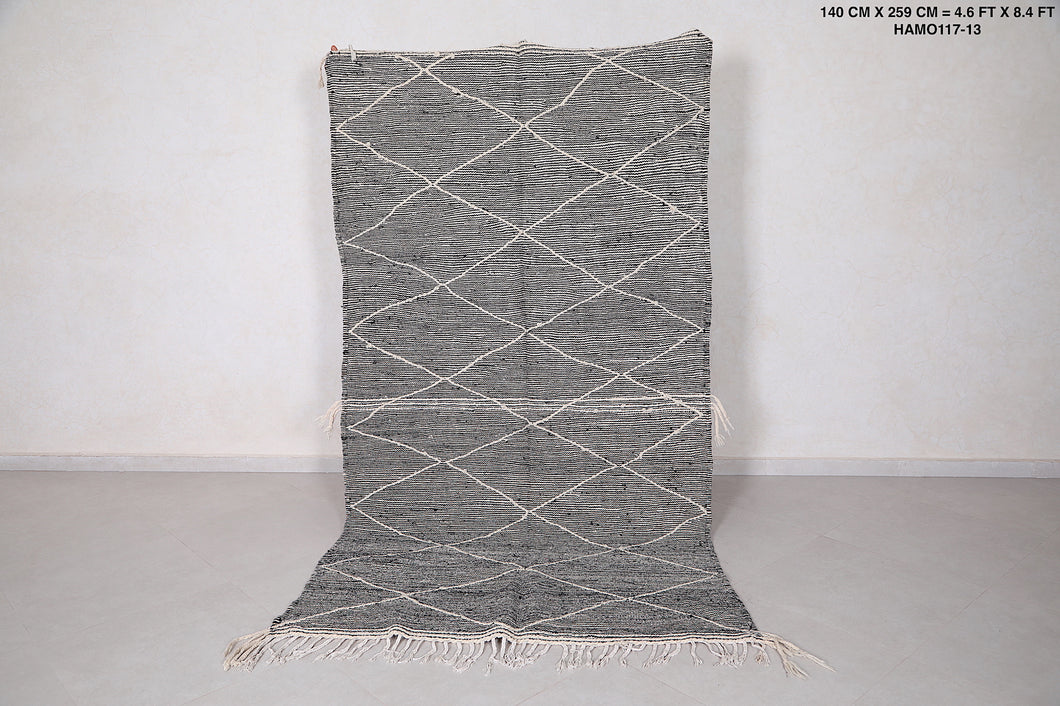 Grey moroccan rug 4.6 FT X 8.4 FT