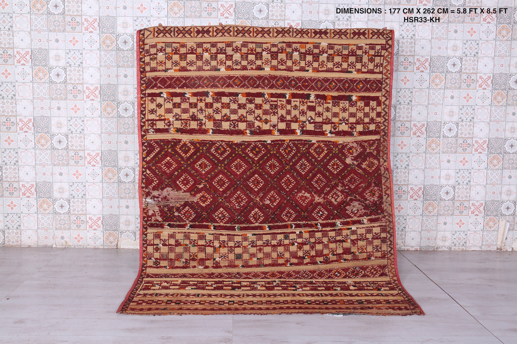 Antique Moroccan Khemisset Straw Mat (5.8 ft x 8.5 ft)