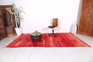 Gorgeous Solid Moroccan rug in red tones 6 ft x 10.4 ft
