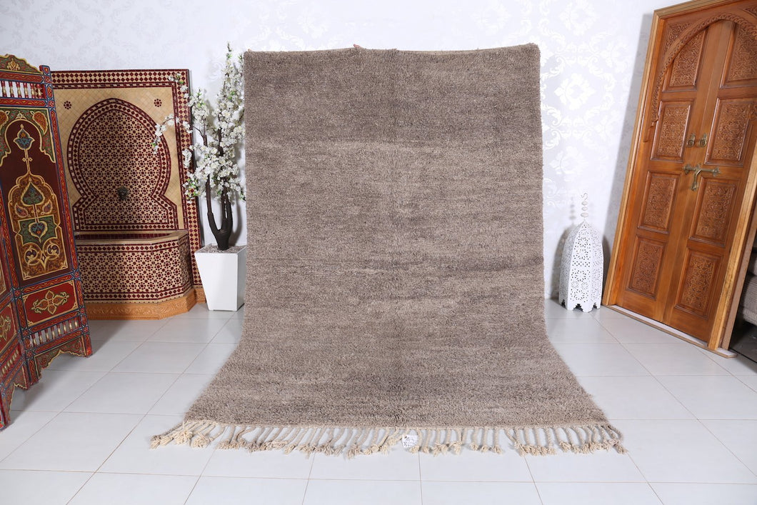 Moroccan Solid gray rug 6.5 ft x 9.6 ft