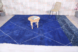 Blue Moroccan rug 7.8 FT X 11.1 FT