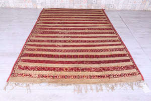 Old Moroccan Straw Hassira Mat (5.6ft x 8.8ft)