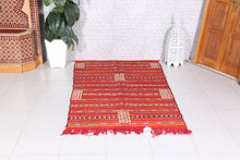 Handwoven red Moroccan kilim rug 4.3 ft x 7.2 ft
