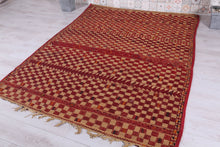 Vintage Hassira Mat (6.4 ft x 8.4 ft) (Wool Straw Leather)