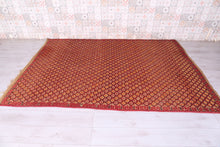 Wool Straw Leather  Vintage Hassira Mat (6.2 ft x 9.3 ft)