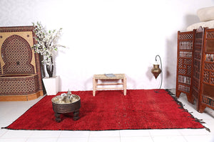 Authentic Red Moroccan solid rug, 6.7 FT x 10.4 FT