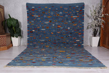 Moroccan blue rug 8.1 ft x 13 ft