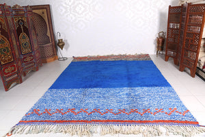Blue custom Moroccan rug, wool berber carpet