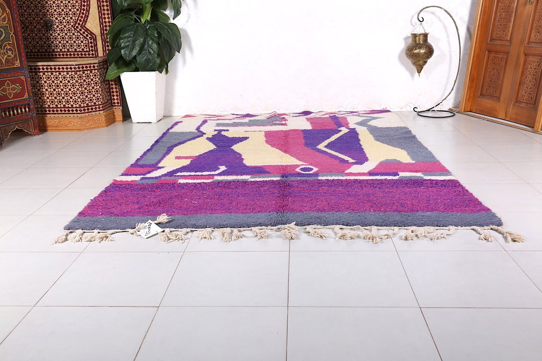 Moroccan area rug 6.5 ft x 9.3 ft