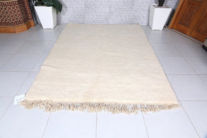 Solid Moroccan rug, 5.4ft x 7.2ft, Woolen beni ourain