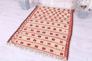 Old Moroccan Straw and Wool Hassira Berber Rug